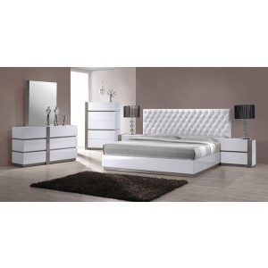 Faith King Size Bed Set With Chest Of Six Drawer Dresser, A Chest Of 5 Storage Drawer And A Buttoned And Leathher Upholsteered Headboard